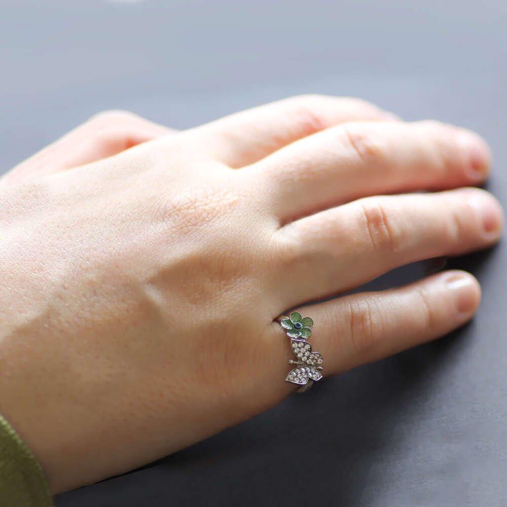Zirkon Taşlı Kelebek-Yeşil Çiçek Tasarım 925 Ayar Gümüş Bayan Yüzük