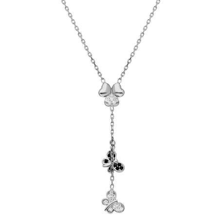 Zirkon Taşlı Kelebek-Yonca Yaprağı Kombinli 925 Ayar Gümüş Kolye - Thumbnail