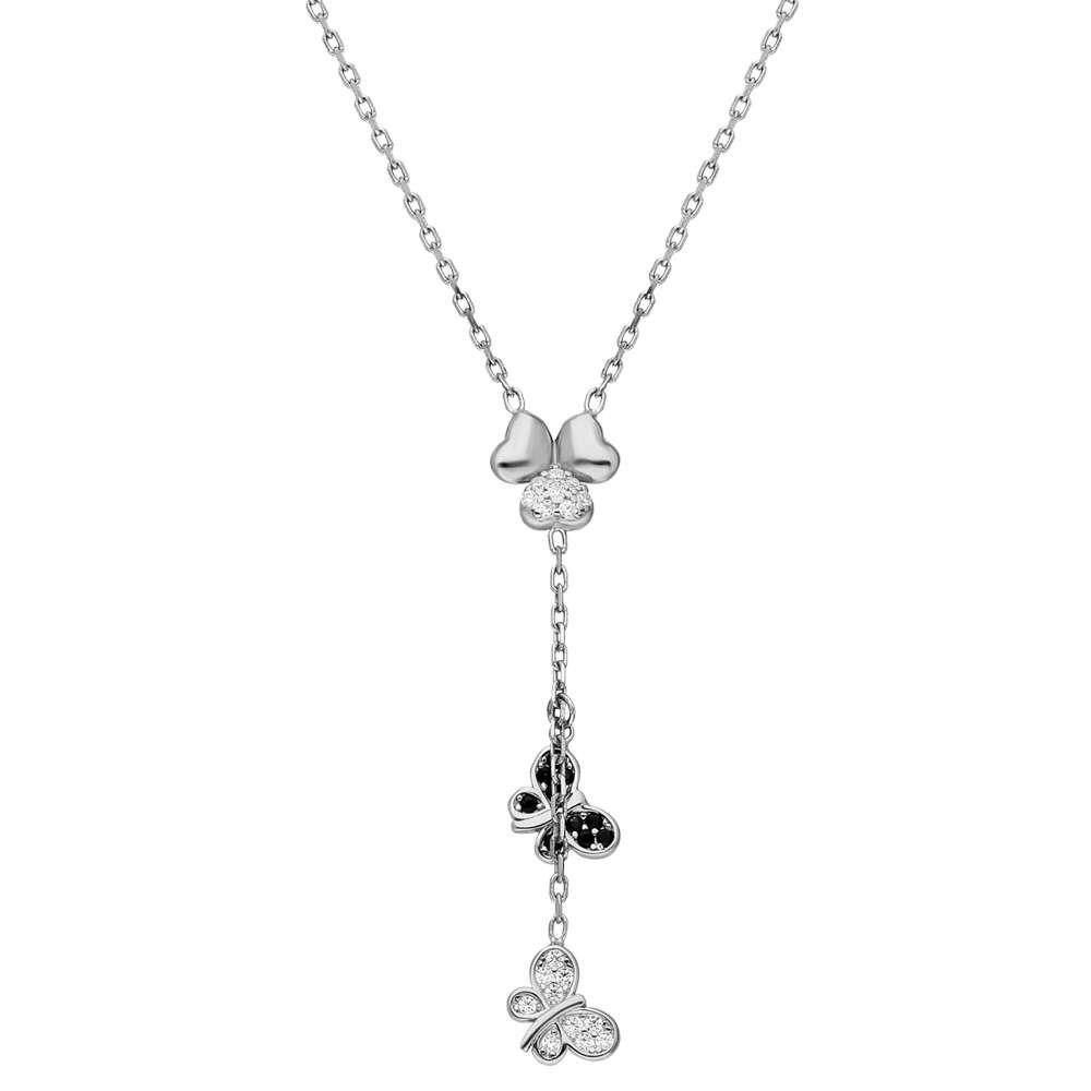 Zirkon Taşlı Kelebek-Yonca Yaprağı Kombinli 925 Ayar Gümüş Kolye