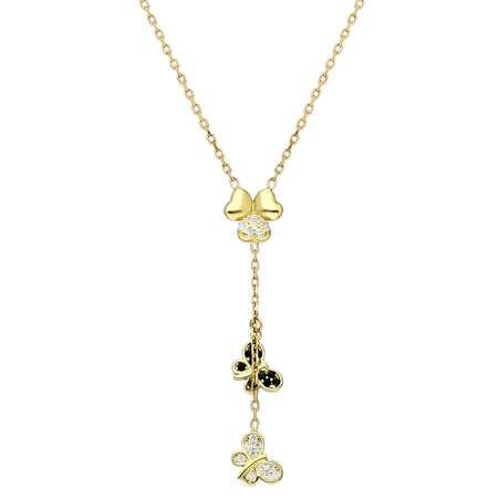 Zirkon Taşlı Kelebek-Yonca Yaprağı Kombinli Gold Renk 925 Ayar Gümüş Kolye - Thumbnail