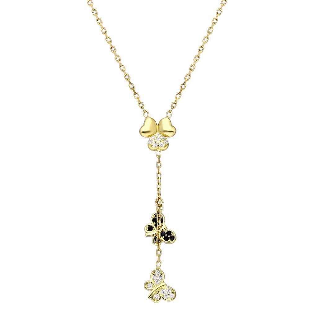Zirkon Taşlı Kelebek-Yonca Yaprağı Kombinli Gold Renk 925 Ayar Gümüş Kolye