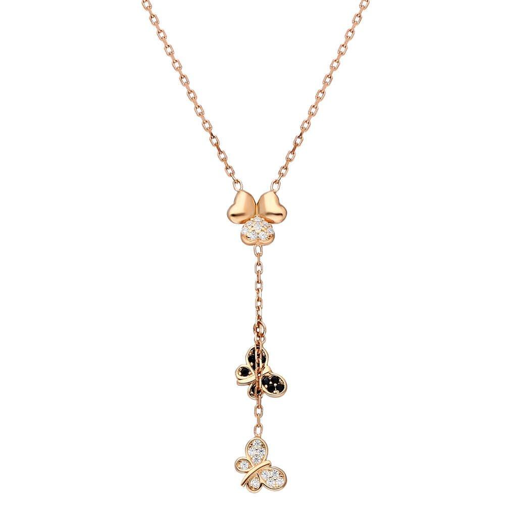 Zirkon Taşlı Kelebek-Yonca Yaprağı Kombinli Rose Renk 925 Ayar Gümüş Kolye