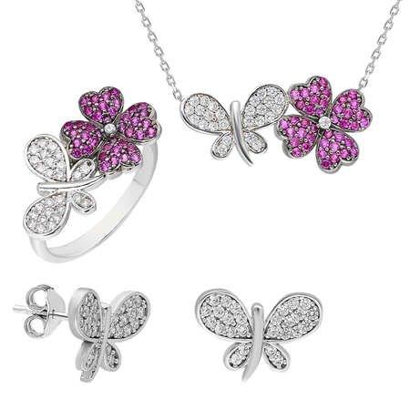 Zirkon Taşlı Kelebek-Yonca Yaprağı Tasarım 925 Ayar Gümüş 3'lü Takı Seti - Thumbnail