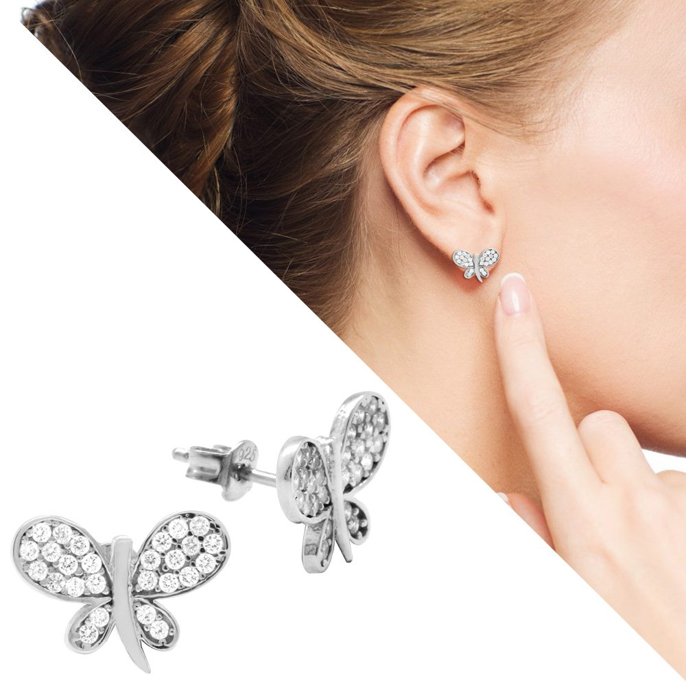 Zirkon Taşlı Kelebek-Yonca Yaprağı Tasarım 925 Ayar Gümüş 3'lü Takı Seti