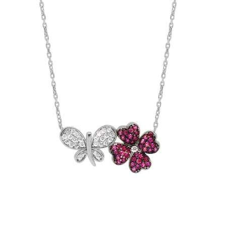 Zirkon Taşlı Kelebek-Yonca Yaprağı Tasarım 925 Ayar Gümüş Bayan Kolye - Thumbnail