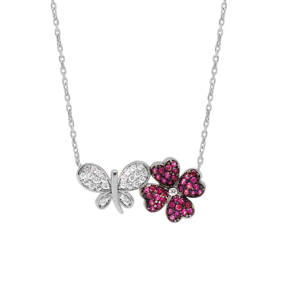 Zirkon Taşlı Kelebek-Yonca Yaprağı Tasarım 925 Ayar Gümüş Bayan Kolye