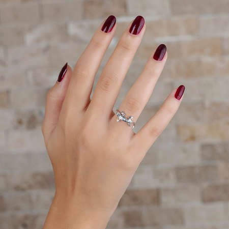 Zirkon Taşlı Kertenkele Tasarım 925 Ayar Gümüş Bayan Yüzük - Thumbnail