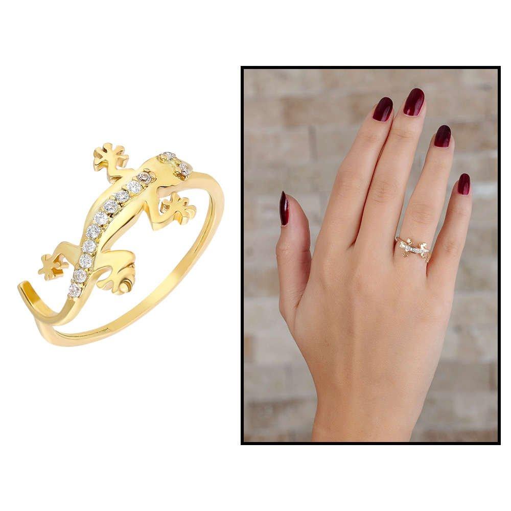 Zirkon Taşlı Kertenkele Tasarım Gold Renk 925 Ayar Gümüş Bayan Yüzük
