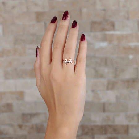 Zirkon Taşlı Kertenkele Tasarım Rose Renk 925 Ayar Gümüş Bayan Yüzük - Thumbnail