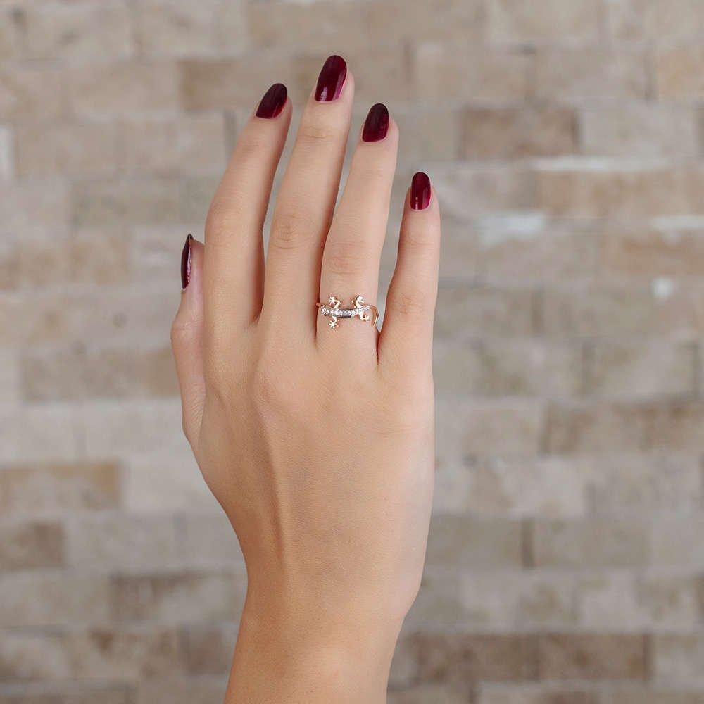 Zirkon Taşlı Kertenkele Tasarım Rose Renk 925 Ayar Gümüş Bayan Yüzük