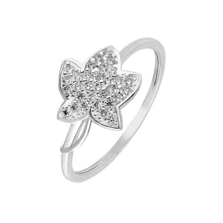Zirkon Taşlı Kır Çiçeği Tasarım 925 Ayar Gümüş Bayan Yüzük - Thumbnail