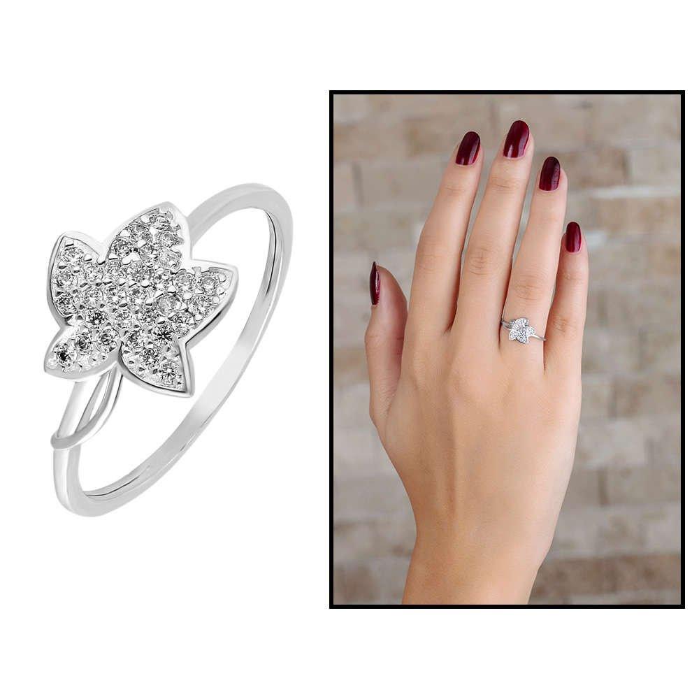 Zirkon Taşlı Kır Çiçeği Tasarım 925 Ayar Gümüş Bayan Yüzük