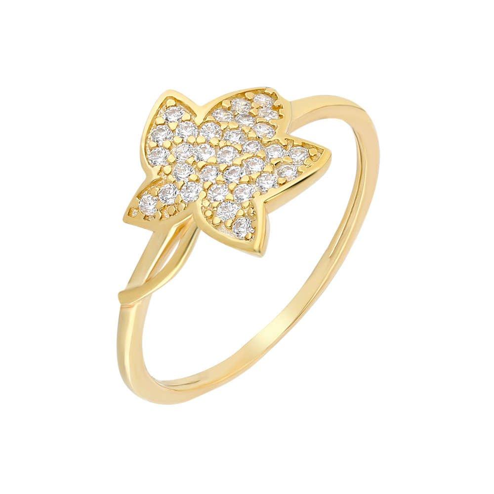 Zirkon Taşlı Kır Çiçeği Tasarım Gold Renk 925 Ayar Gümüş Bayan Yüzük