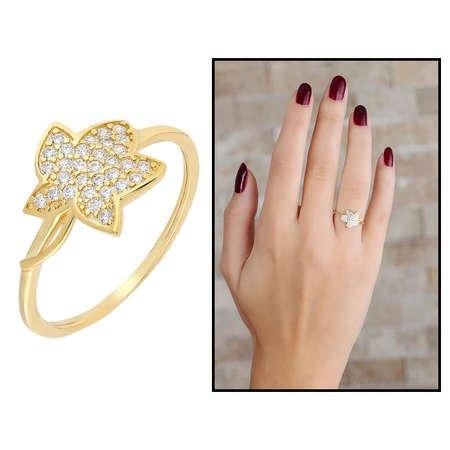 Zirkon Taşlı Kır Çiçeği Tasarım Gold Renk 925 Ayar Gümüş Bayan Yüzük - Thumbnail