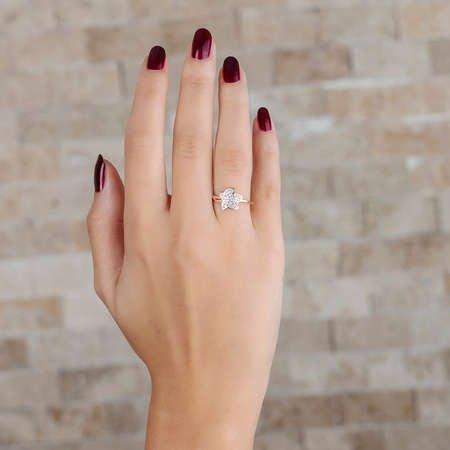 Zirkon Taşlı Kır Çiçeği Tasarım Rose Renk 925 Ayar Gümüş Bayan Yüzük - Thumbnail