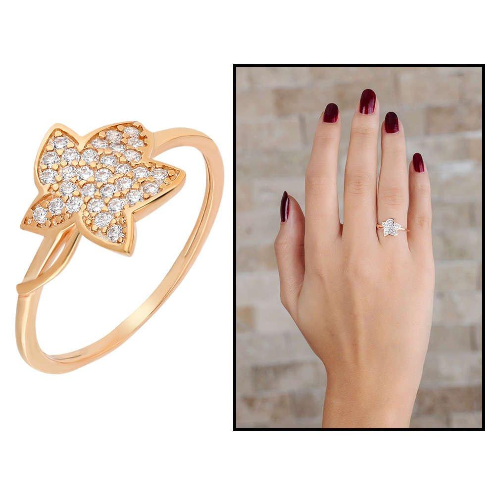 Zirkon Taşlı Kır Çiçeği Tasarım Rose Renk 925 Ayar Gümüş Bayan Yüzük