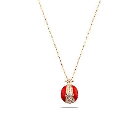 Zirkon Taşlı Kırmızı Mineli Uğur Böceği Tasarım 925 Ayar Kadın Kolye - Thumbnail