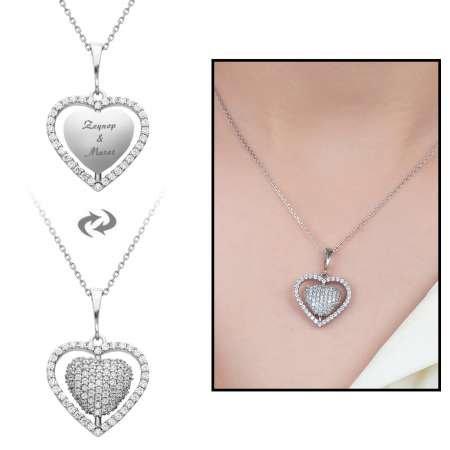 Zirkon Taşlı Kişiye Özel İsim Yazılı 925 Ayar Gümüş Kalp Kolye - Thumbnail