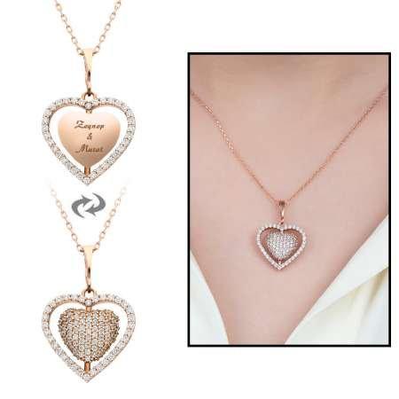Zirkon Taşlı Kişiye Özel İsim Yazılı Rose Renk 925 Ayar Gümüş Kalp Kolye - Thumbnail