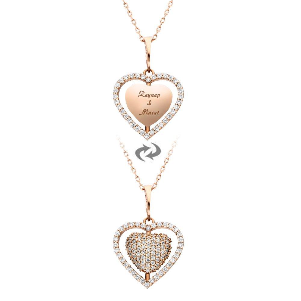 Zirkon Taşlı Kişiye Özel İsim Yazılı Rose Renk 925 Ayar Gümüş Kalp Kolye