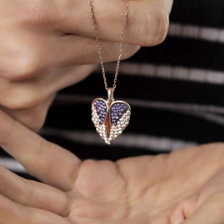 Zirkon Taşlı Kişiye Özel İsim Yazılı Rose Renk 925 Ayar Gümüş Melek Kanadı Kolye - Thumbnail