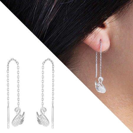 Zirkon Taşlı Kuğu Tasarım 925 Ayar Gümüş Sallantılı Küpe - Thumbnail