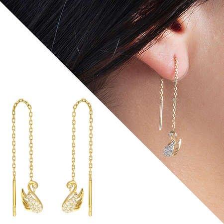 Zirkon Taşlı Kuğu Tasarım Gold Renk 925 Ayar Gümüş Sallantılı Küpe - Thumbnail