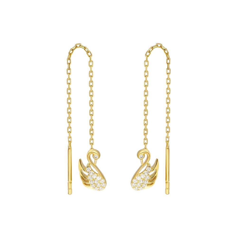 Zirkon Taşlı Kuğu Tasarım Gold Renk 925 Ayar Gümüş Sallantılı Küpe