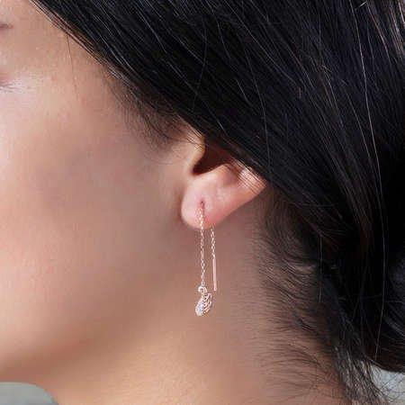 Zirkon Taşlı Kuğu Tasarım Rose Renk 925 Ayar Gümüş Sallantılı Küpe - Thumbnail