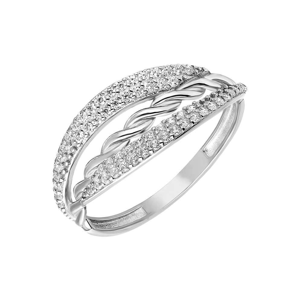 Zirkon Taşlı Örgü Tasarım 925 Ayar Gümüş Bayan Yüzük