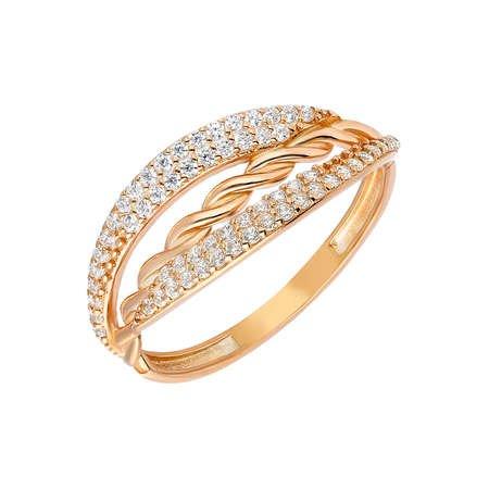 Zirkon Taşlı Örgü Tasarım Rose Renk 925 Ayar Gümüş Bayan Yüzük - Thumbnail