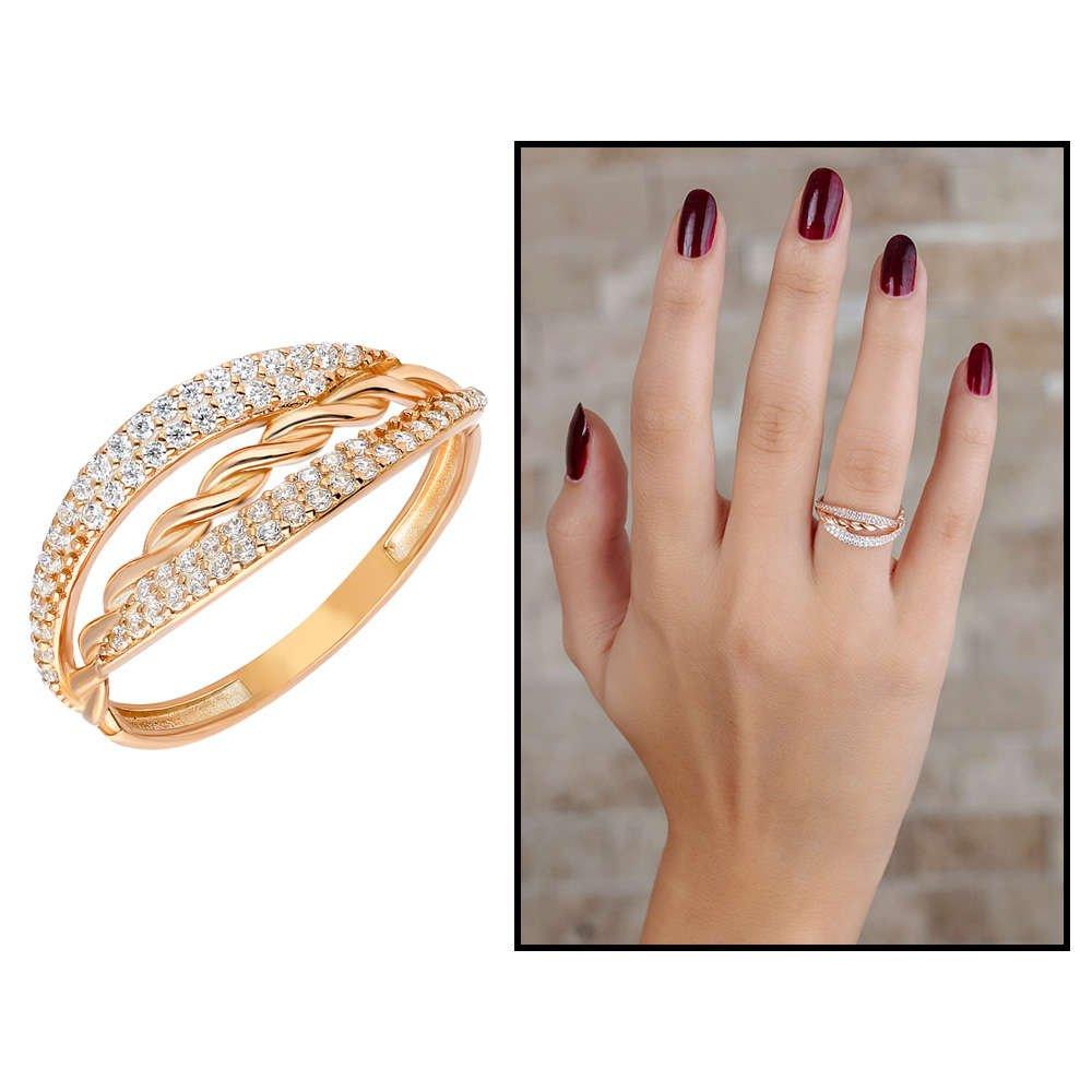 Zirkon Taşlı Örgü Tasarım Rose Renk 925 Ayar Gümüş Bayan Yüzük