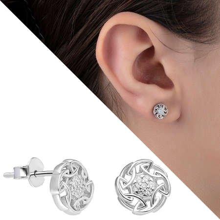 Zirkon Taşlı Oval Zincir Tasarım 925 Ayar Gümüş Küpe - Thumbnail