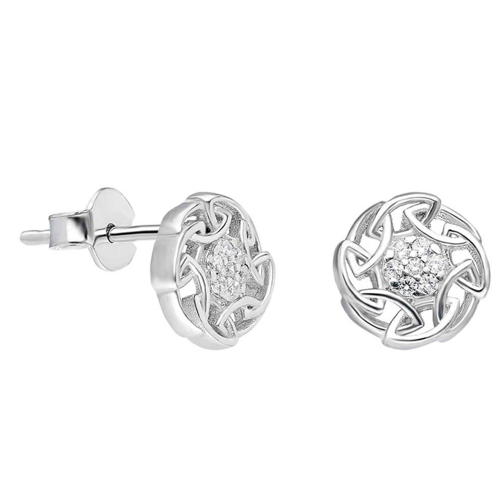 Zirkon Taşlı Oval Zincir Tasarım 925 Ayar Gümüş Küpe