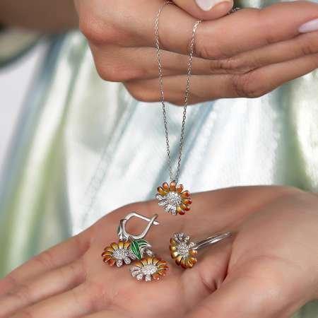 Zirkon Taşlı Papatya Tasarım 925 Ayar Gümüş 3'lü Takı Seti - Thumbnail