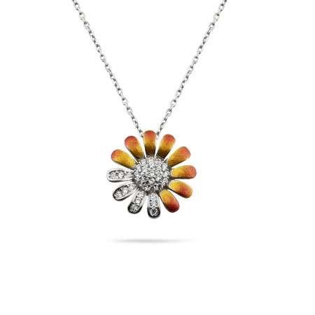 Zirkon Taşlı Papatya Tasarım 925 Ayar Gümüş Kadın Kolye - Thumbnail