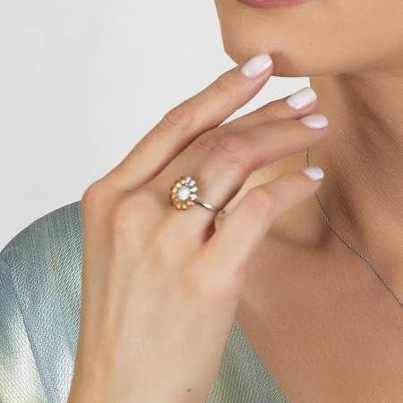 Zirkon Taşlı Papatya Tasarım 925 Ayar Gümüş Kadın Yüzük - Thumbnail