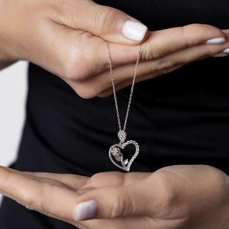 Beyaz Zirkon Taşlı Kalbimin Gülü 925 Ayar Gümüş Bayan Kolye - Thumbnail