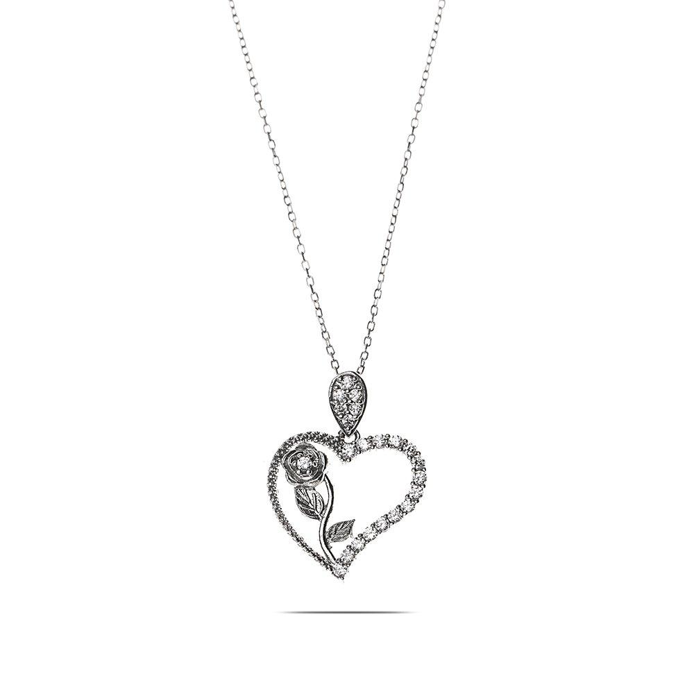 Beyaz Zirkon Taşlı Kalbimin Gülü 925 Ayar Gümüş Bayan Kolye