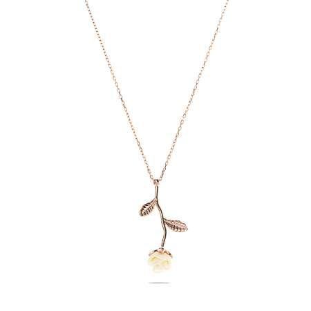 Sedef Taşlı Rose Renk Beyaz Gül Tasarım 925 Ayar Gümüş Bayan Kolye - Thumbnail