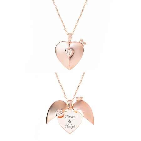 Zirkon Taşlı Rose Renk Kişiye Özel İsim Yazılı 925 Ayar Gümüş Kalp Kolye - Thumbnail