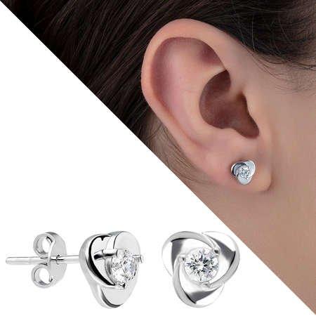 Zirkon Taşlı Rüzgar Gülü Tasarım 925 Ayar Gümüş Küpe - Thumbnail