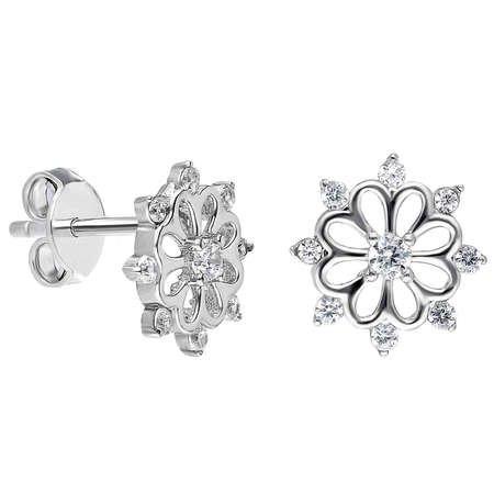 Zirkon Taşlı Selçuklu Tasarım 925 Ayar Gümüş Küpe - Thumbnail