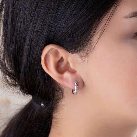 Zirkon Taşlı Şık Tasarım 925 Ayar Gümüş Bayan Küpe - Thumbnail