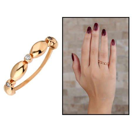 Zirkon Taşlı Sıralı Arpa Tasarım Rose Renk 925 Ayar Gümüş Bayan Yüzük - Thumbnail