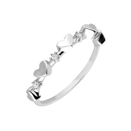 Zirkon Taşlı Sıralı Kalp Tasarım 925 Ayar Gümüş Bayan Yüzük - Thumbnail