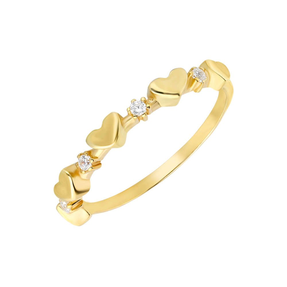 Zirkon Taşlı Sıralı Kalp Tasarım Gold Renk 925 Ayar Gümüş Bayan Yüzük