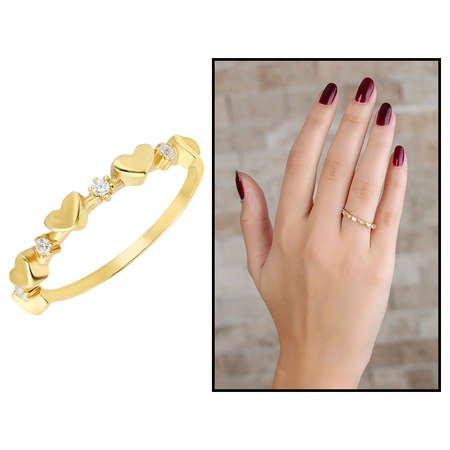 Zirkon Taşlı Sıralı Kalp Tasarım Gold Renk 925 Ayar Gümüş Bayan Yüzük - Thumbnail