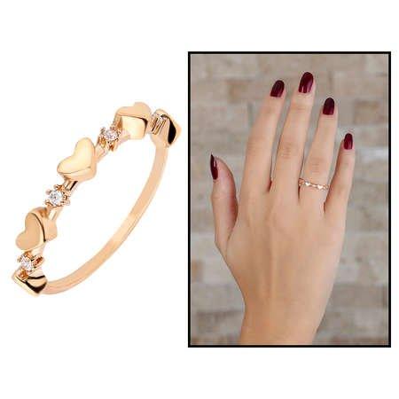 Zirkon Taşlı Sıralı Kalp Tasarım Rose Renk 925 Ayar Gümüş Bayan Yüzük - Thumbnail