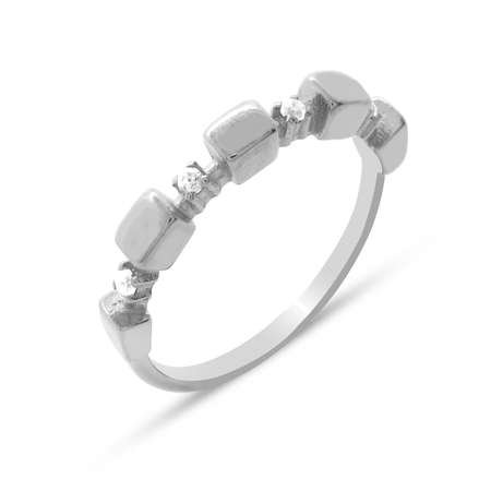 Zirkon Taşlı Sıralı Küp Tasarım 925 Ayar Gümüş Bayan Yüzük - Thumbnail